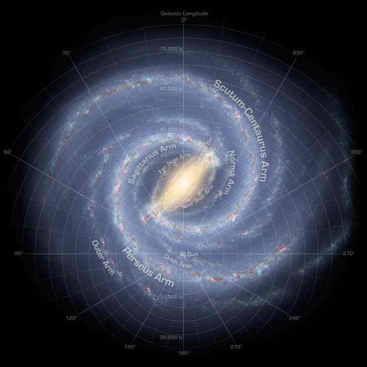 This is our unimaginably vast galaxy. Our sun doesn't even glow enough to show up.